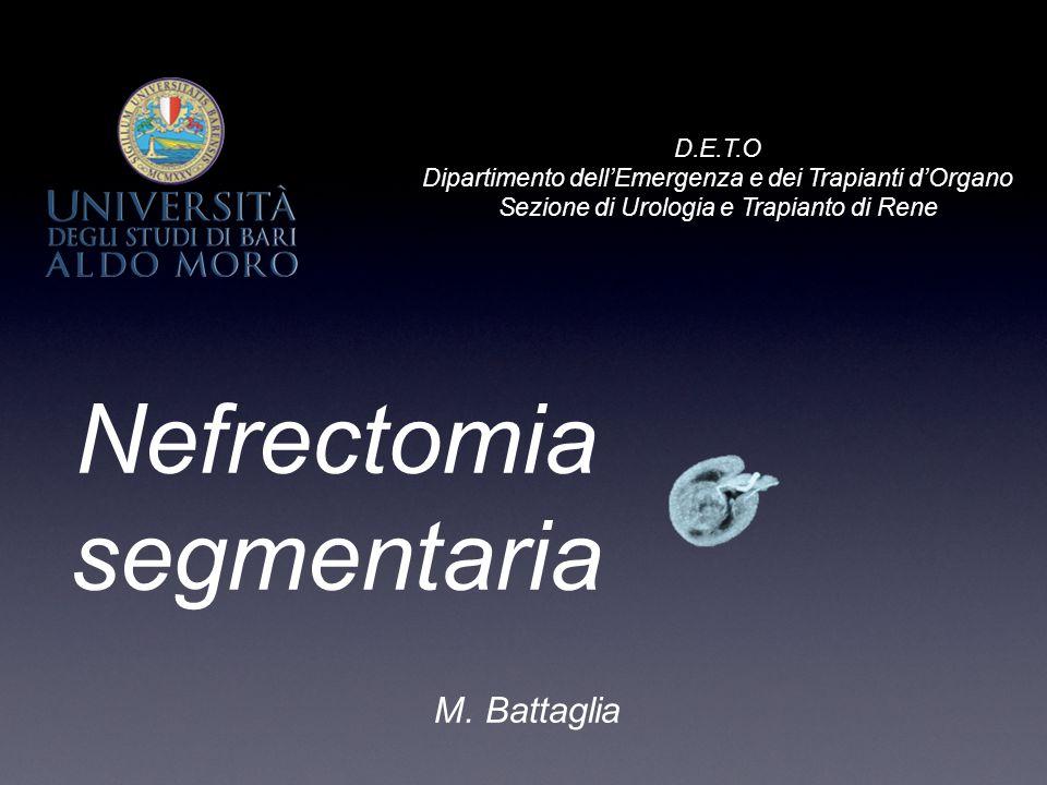 M. Battaglia D.E.T.O Dipartimento dell'Emergenza e dei Trapianti d'Organo Sezione di Urologia e Trapianto di Rene Nefrectomia segmentaria