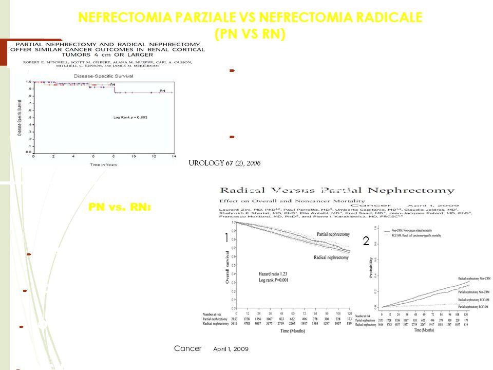 NEFRECTOMIA PARZIALE VS NEFRECTOMIA RADICALE (PN VS RN) PN vs. RN:  I risultati oncologici tra la NP e la NR per le masse > 4 cm sono sovrapponibili