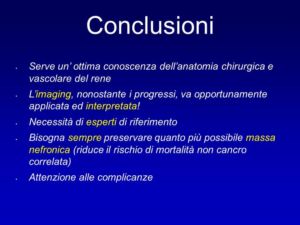 Conclusioni Serve un' ottima conoscenza dell'anatomia chirurgica e vascolare del rene L'imaging, nonostante i progressi, va opportunamente applicata e