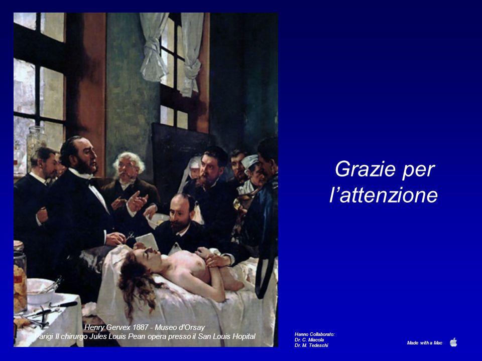 Grazie per l'attenzione Henry Gervex 1887 - Museo d'Orsay Parigi Il chirurgo Jules Louis Pean opera presso il San Louis Hopital Hanno Collaborato: Dr.