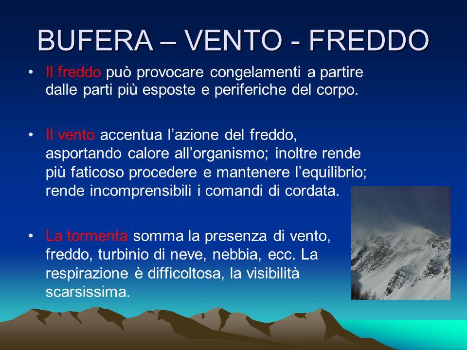 BUFERA – VENTO - FREDDO Il freddo può provocare congelamenti a partire dalle parti più esposte e periferiche del corpo.