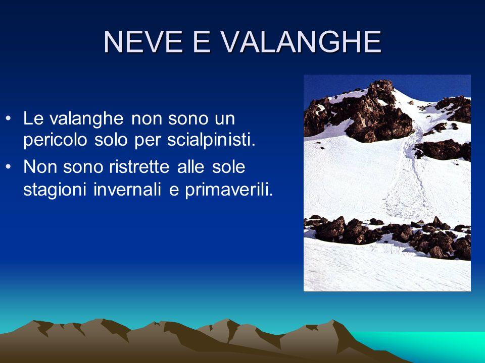 NEVE E VALANGHE Le valanghe non sono un pericolo solo per scialpinisti.