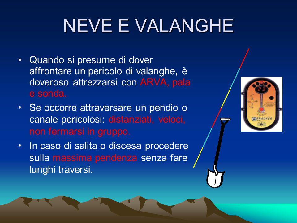 NEVE E VALANGHE Quando si presume di dover affrontare un pericolo di valanghe, è doveroso attrezzarsi con ARVA, pala e sonda.
