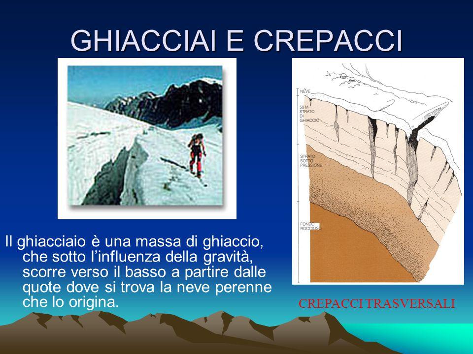GHIACCIAI E CREPACCI Il ghiacciaio è una massa di ghiaccio, che sotto l'influenza della gravità, scorre verso il basso a partire dalle quote dove si trova la neve perenne che lo origina.