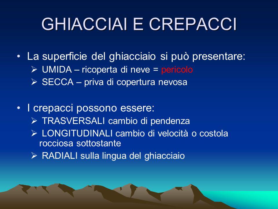 La superficie del ghiacciaio si può presentare:  UMIDA – ricoperta di neve = pericolo  SECCA – priva di copertura nevosa I crepacci possono essere:  TRASVERSALI cambio di pendenza  LONGITUDINALI cambio di velocità o costola rocciosa sottostante  RADIALI sulla lingua del ghiacciaio