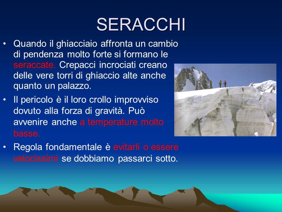 SERACCHI Quando il ghiacciaio affronta un cambio di pendenza molto forte si formano le seraccate.
