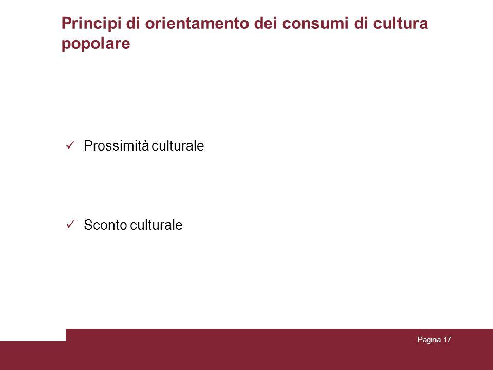 Principi di orientamento dei consumi di cultura popolare Prossimità culturale Sconto culturale Pagina 17
