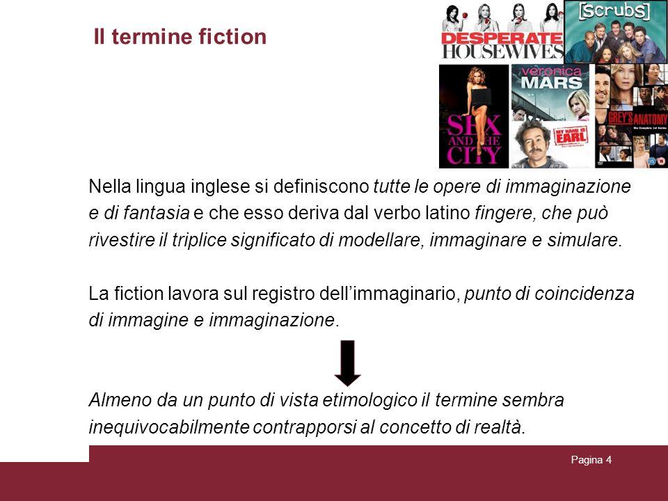 Pagina 4 Il termine fiction Nella lingua inglese si definiscono tutte le opere di immaginazione e di fantasia e che esso deriva dal verbo latino fingere, che può rivestire il triplice significato di modellare, immaginare e simulare.