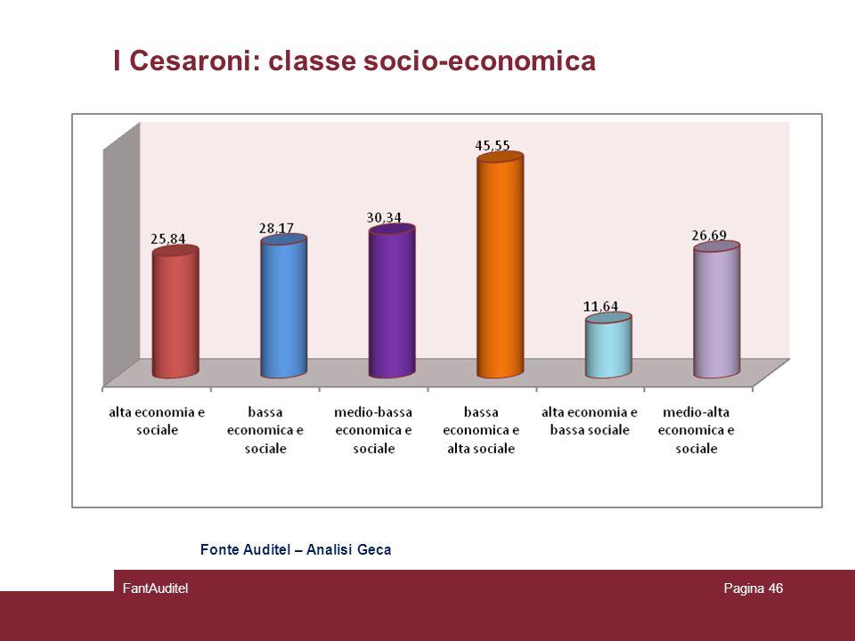 I Cesaroni: classe socio-economica FantAuditelPagina 46 Fonte Auditel – Analisi Geca