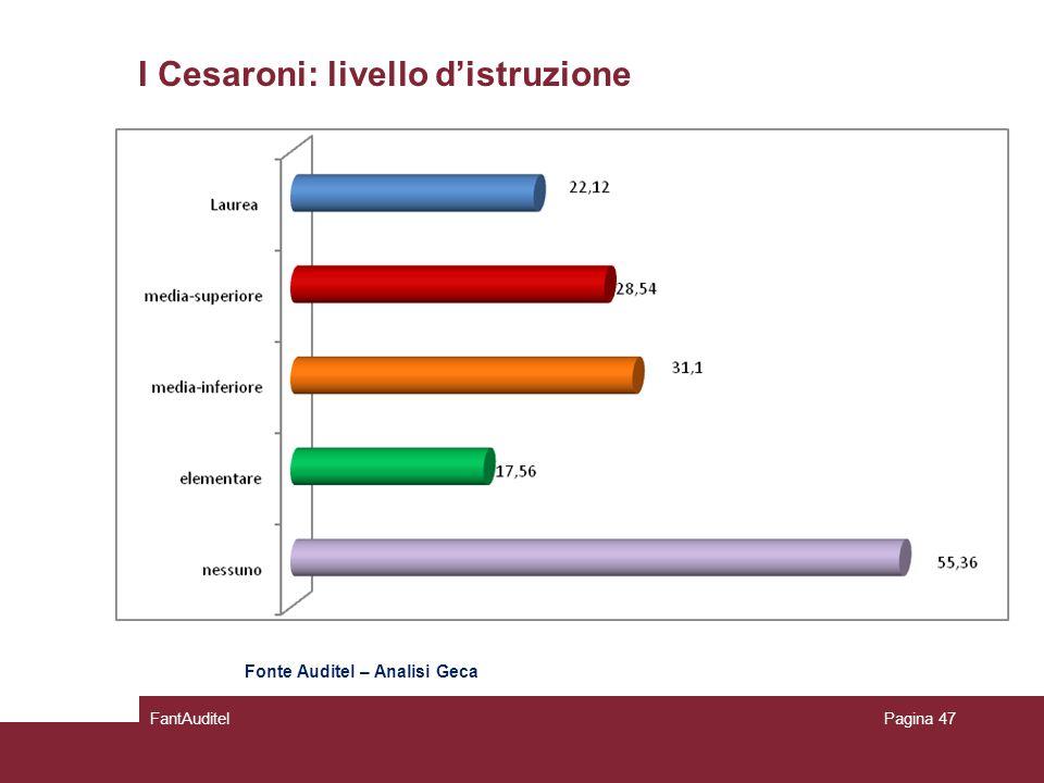 I Cesaroni: livello d'istruzione FantAuditelPagina 47 Fonte Auditel – Analisi Geca