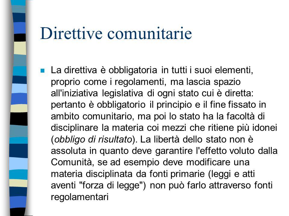 Direttive comunitarie n La direttiva è obbligatoria in tutti i suoi elementi, proprio come i regolamenti, ma lascia spazio all'iniziativa legislativa
