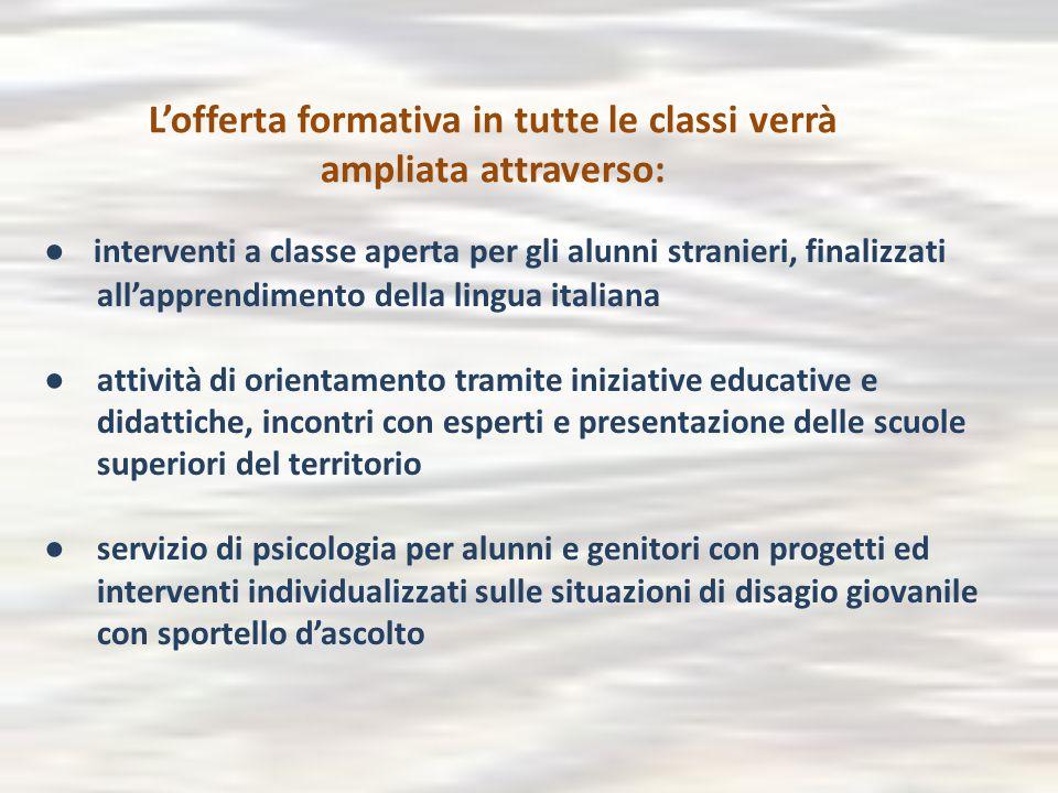 L'offerta formativa in tutte le classi verrà ampliata attraverso: ● interventi a classe aperta per gli alunni stranieri, finalizzati all'apprendimento