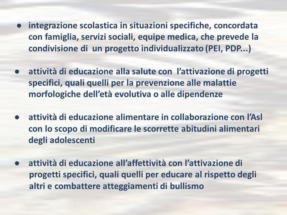 ● integrazione scolastica in situazioni specifiche, concordata con famiglia, servizi sociali, equipe medica, che prevede la condivisione di un progett