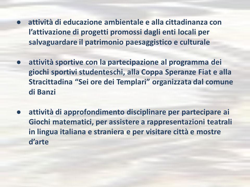 ● attività di educazione ambientale e alla cittadinanza con l'attivazione di progetti promossi dagli enti locali per salvaguardare il patrimonio paesa
