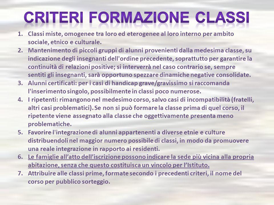 1.Classi miste, omogenee tra loro ed eterogenee al loro interno per ambito sociale, etnico e culturale. 2.Mantenimento di piccoli gruppi di alunni pro