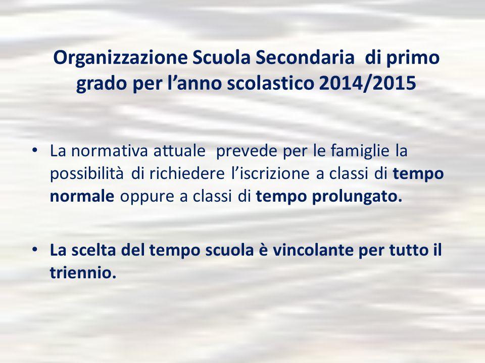 Organizzazione Scuola Secondaria di primo grado per l'anno scolastico 2014/2015 La normativa attuale prevede per le famiglie la possibilità di richied