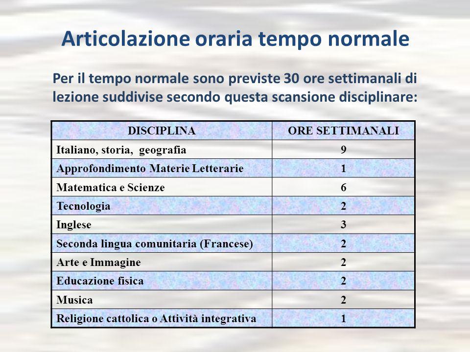 Articolazione oraria tempo normale Per il tempo normale sono previste 30 ore settimanali di lezione suddivise secondo questa scansione disciplinare: D