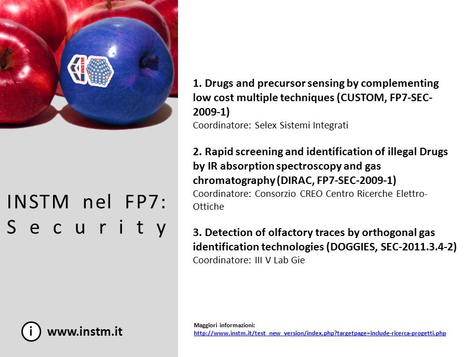 INSTM nel FP7: Security i www.instm.it 1. Drugs and precursor sensing by complementing low cost multiple techniques (CUSTOM, FP7-SEC- 2009-1) Coordina