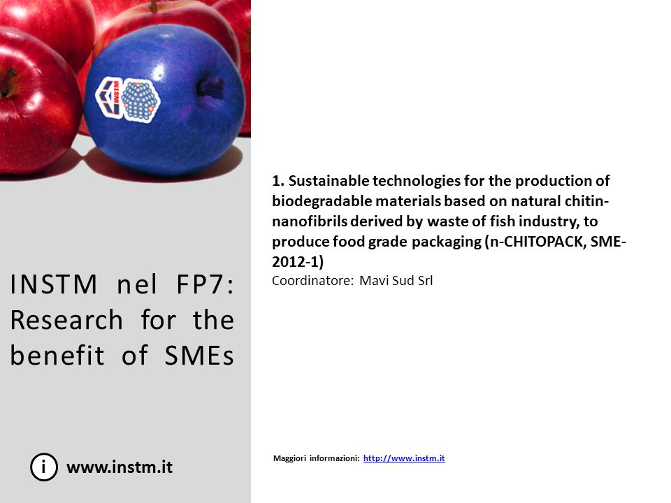 INSTM nel FP7: Research for the benefit of SMEs i www.instm.it 1. Sustainable technologies for the production of biodegradable materials based on natu
