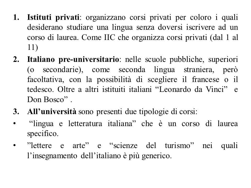 1.Istituti privati: organizzano corsi privati per coloro i quali desiderano studiare una lingua senza doversi iscrivere ad un corso di laurea.