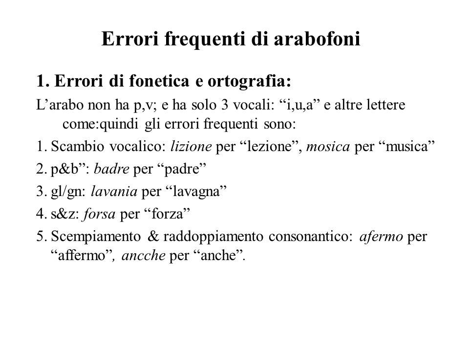 Errori frequenti di arabofoni 1.
