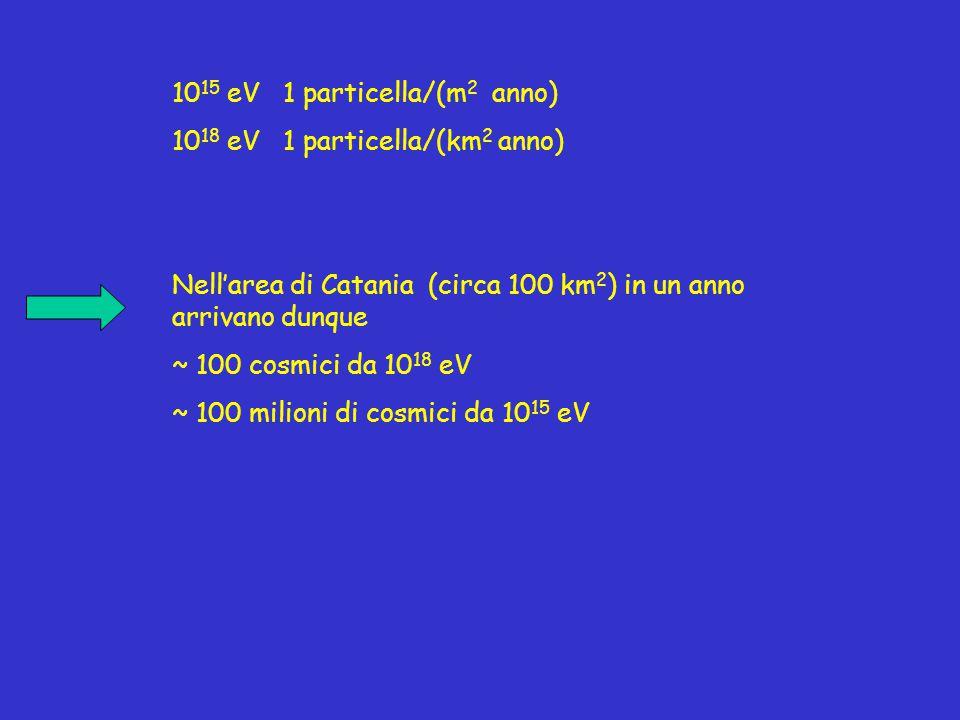 10 15 eV 1 particella/(m 2 anno) 10 18 eV 1 particella/(km 2 anno) Nell'area di Catania (circa 100 km 2 ) in un anno arrivano dunque ~ 100 cosmici da