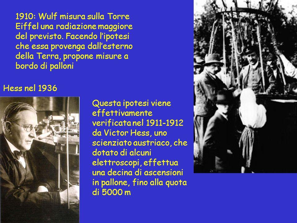 Questa ipotesi viene effettivamente verificata nel 1911-1912 da Victor Hess, uno scienziato austriaco, che dotato di alcuni elettroscopi, effettua una