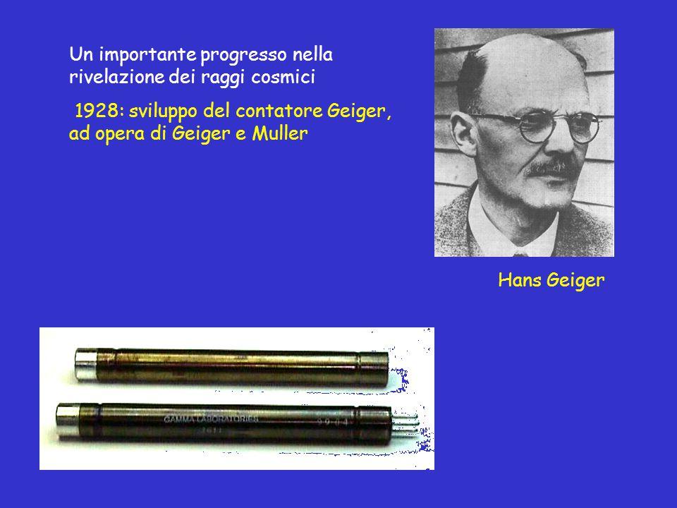 Un importante progresso nella rivelazione dei raggi cosmici 1928: sviluppo del contatore Geiger, ad opera di Geiger e Muller Hans Geiger