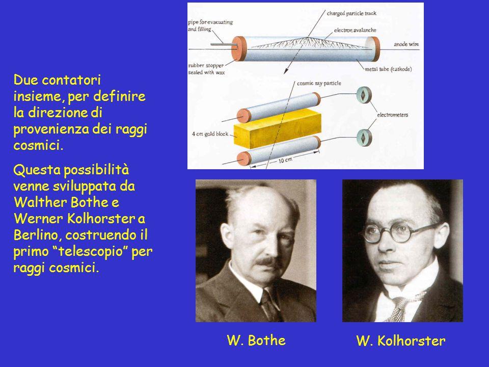 Due contatori insieme, per definire la direzione di provenienza dei raggi cosmici. Questa possibilità venne sviluppata da Walther Bothe e Werner Kolho