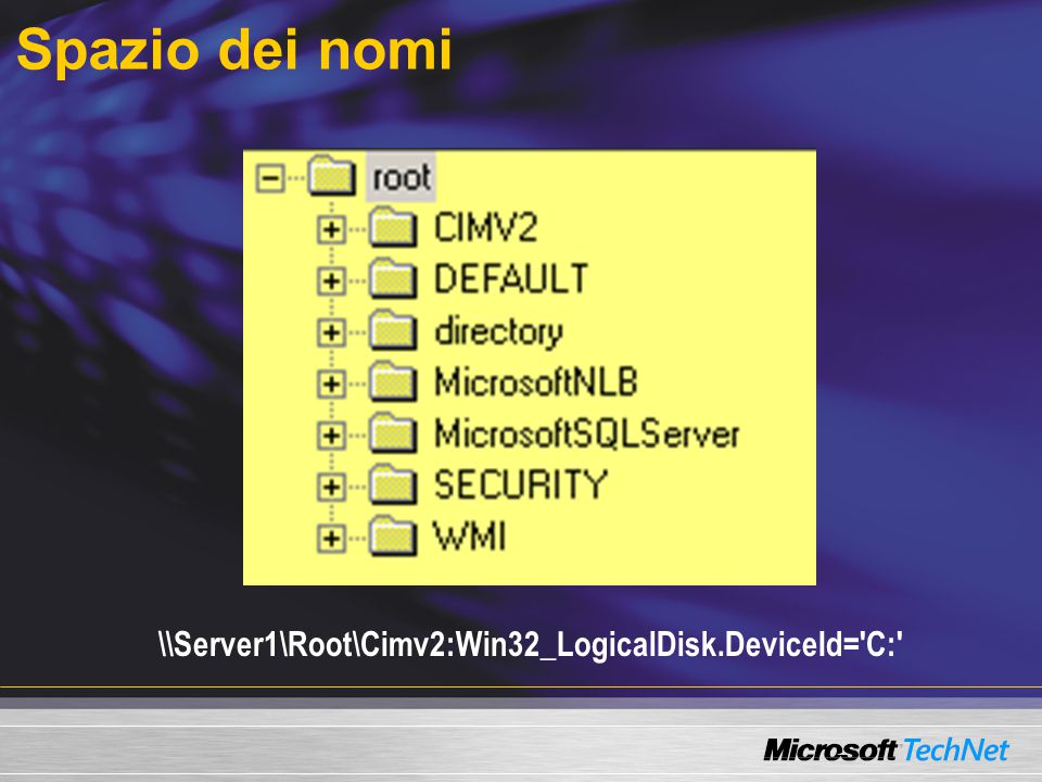 Spazio dei nomi \\Server1\Root\Cimv2:Win32_LogicalDisk.DeviceId='C:'