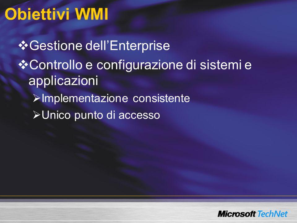 Uso di proprietà e metodi  Scenario Installazione di software 1.Verica della quantità di RAM  Win32_computerSystem 2.Installazione di un pacchetto Windows Installer  Win32_Product Set objSvc = GetObject( winmgmts:\\Server1 ) Set obj = objSvc.Get( Win32_computerSystem.name=.Server1. ) If obj.TotalPhysicalMemory > 267952128 Then WScript.Echo Devono esserci almeno 256 MB di RAM WSCript.Quit Else Set objProduct = objSvc.Get( Win32_Product ) VLocationPath = C:\source\scriptApp.msi retVal = objProduct.Install(VLocationPath) End If