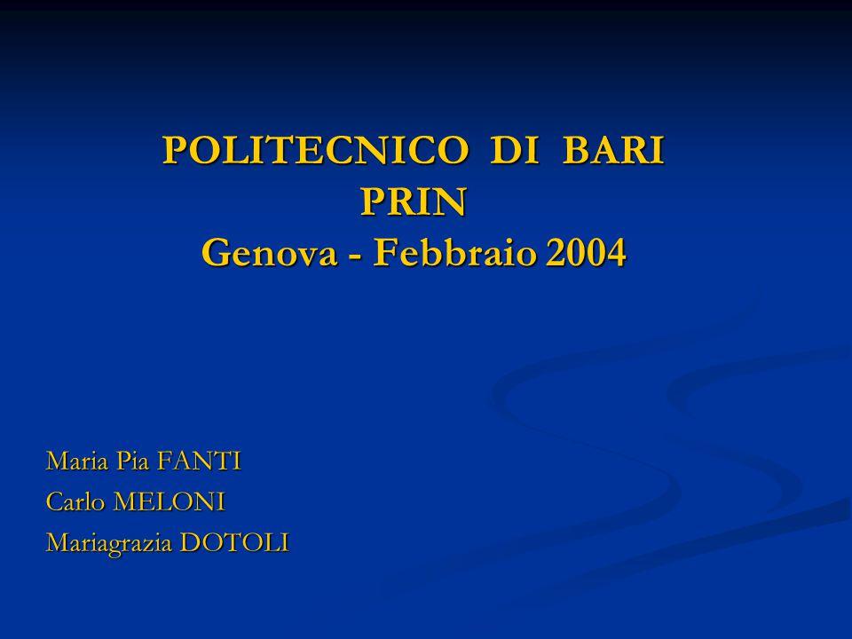 POLITECNICO DI BARI PRIN Genova - Febbraio 2004 Maria Pia FANTI Carlo MELONI Mariagrazia DOTOLI