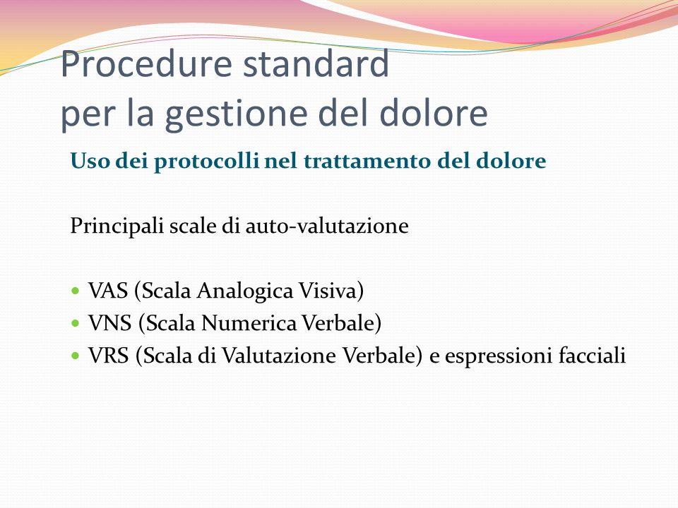 Procedure standard per la gestione del dolore Uso dei protocolli nel trattamento del dolore Principali scale di auto-valutazione VAS (Scala Analogica Visiva) VNS (Scala Numerica Verbale) VRS (Scala di Valutazione Verbale) e espressioni facciali
