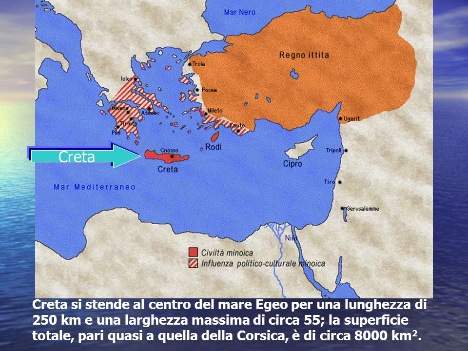 Creta Creta si stende al centro del mare Egeo per una lunghezza di 250 km e una larghezza massima di circa 55; la superficie totale, pari quasi a quel