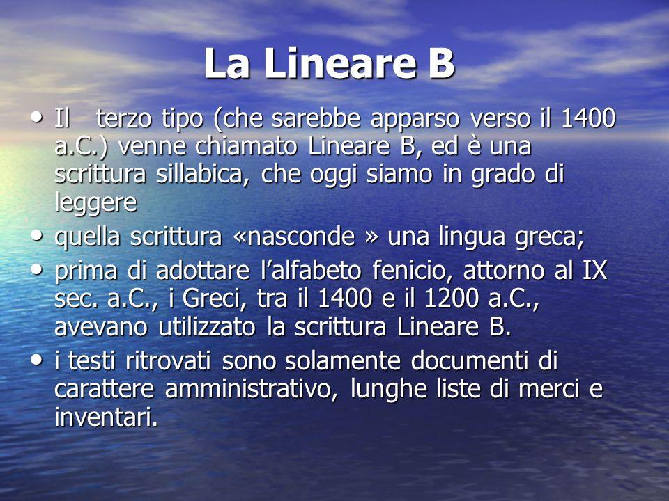 La Lineare B Ilterzo tipo (che sarebbe apparso verso il 1400 a.C.) venne chiamato Lineare B, ed è una scrittura sillabica, che oggi siamo in grado di