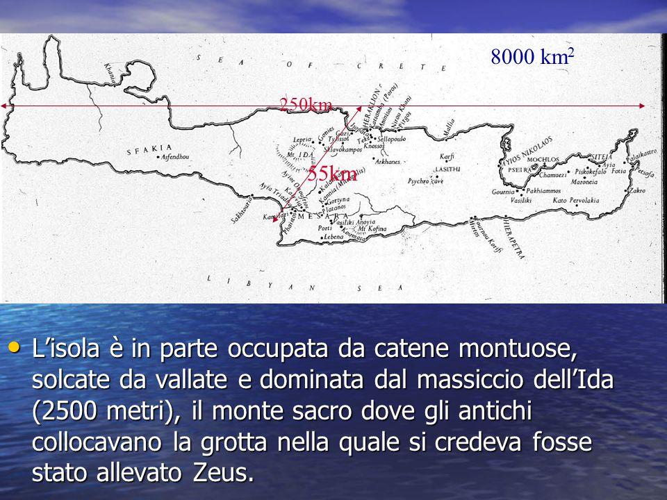 L'isola è in parte occupata da catene montuose, solcate da vallate e dominata dal massiccio dell'Ida (2500 metri), il monte sacro dove gli antichi col