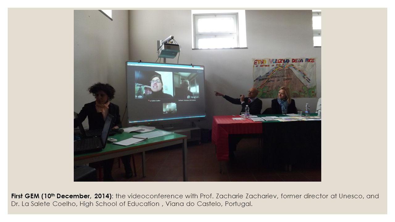 First GEM (10 th December, 2014) : the videoconference with Prof. Zacharie Zachariev, former director at Unesco, and Dr. La Salete Coelho, High School