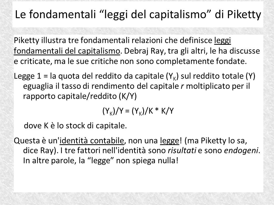 Piketty illustra tre fondamentali relazioni che definisce leggi fondamentali del capitalismo. Debraj Ray, tra gli altri, le ha discusse e criticate, m