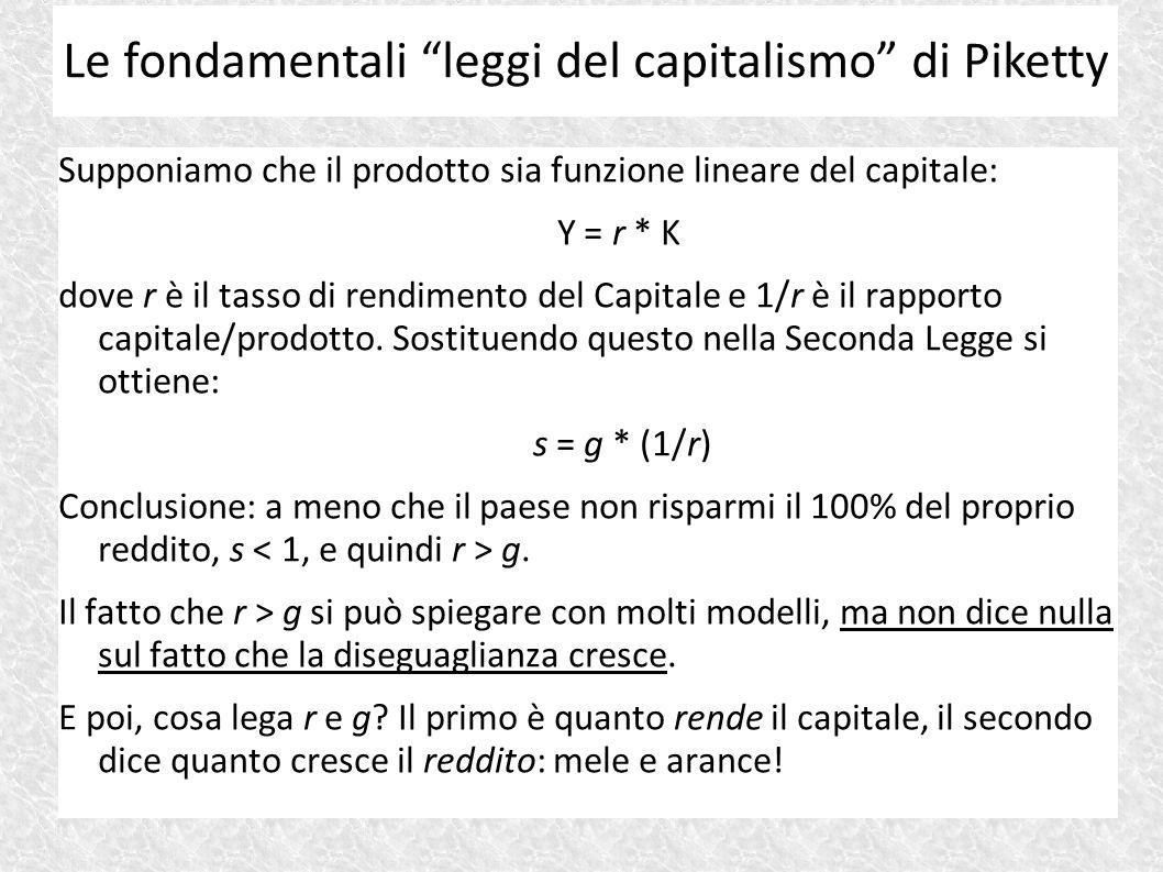 Supponiamo che il prodotto sia funzione lineare del capitale: Y = r * K dove r è il tasso di rendimento del Capitale e 1/r è il rapporto capitale/prod
