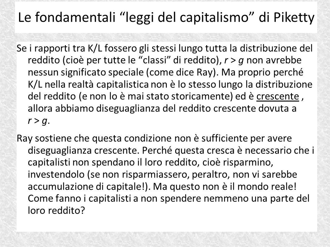 """Se i rapporti tra K/L fossero gli stessi lungo tutta la distribuzione del reddito (cioè per tutte le """"classi"""" di reddito), r > g non avrebbe nessun si"""
