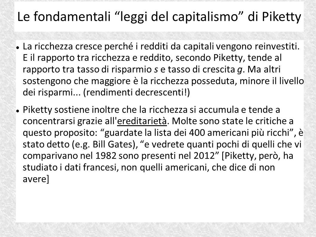 La ricchezza cresce perché i redditi da capitali vengono reinvestiti. E il rapporto tra ricchezza e reddito, secondo Piketty, tende al rapporto tra ta