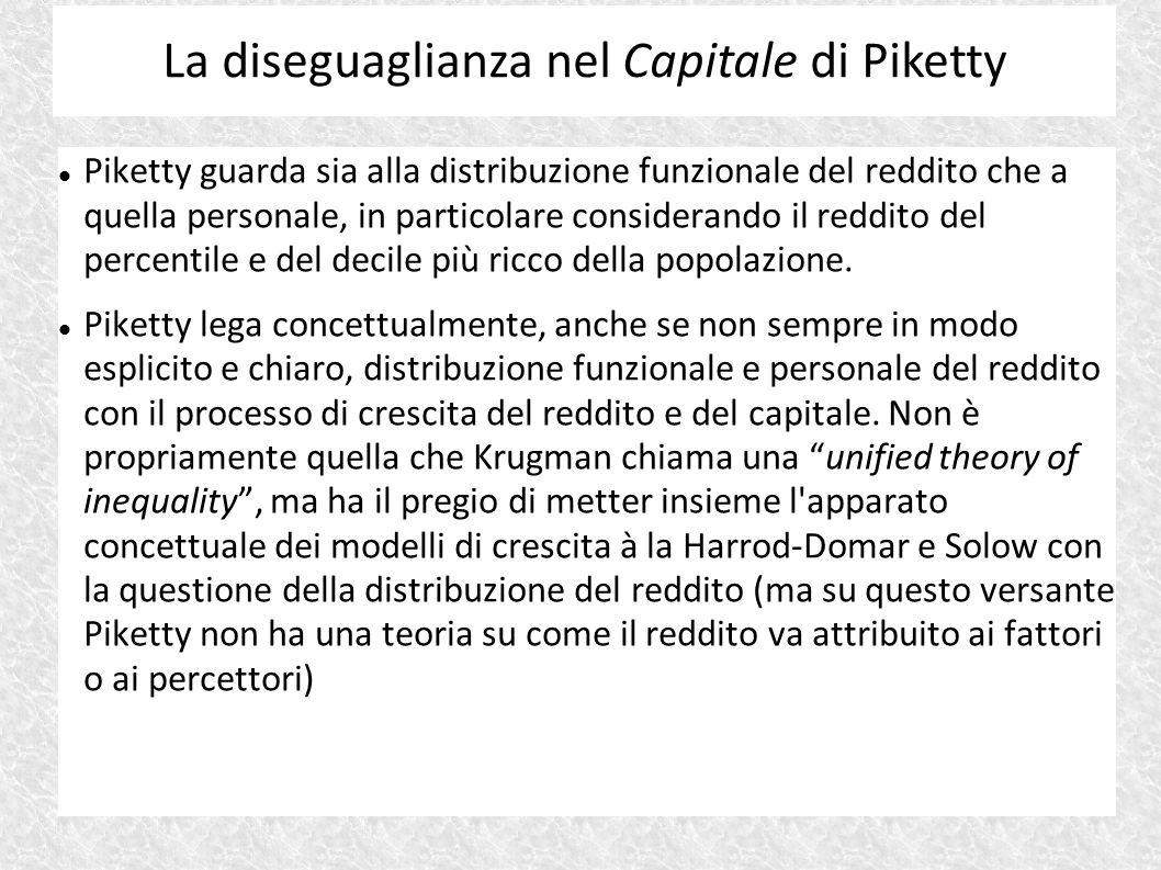 Piketty guarda sia alla distribuzione funzionale del reddito che a quella personale, in particolare considerando il reddito del percentile e del decil