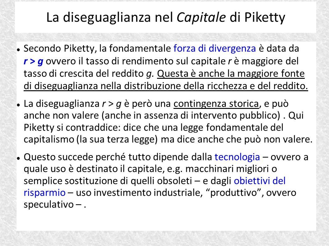 Secondo Piketty, la fondamentale forza di divergenza è data da r > g ovvero il tasso di rendimento sul capitale r è maggiore del tasso di crescita del