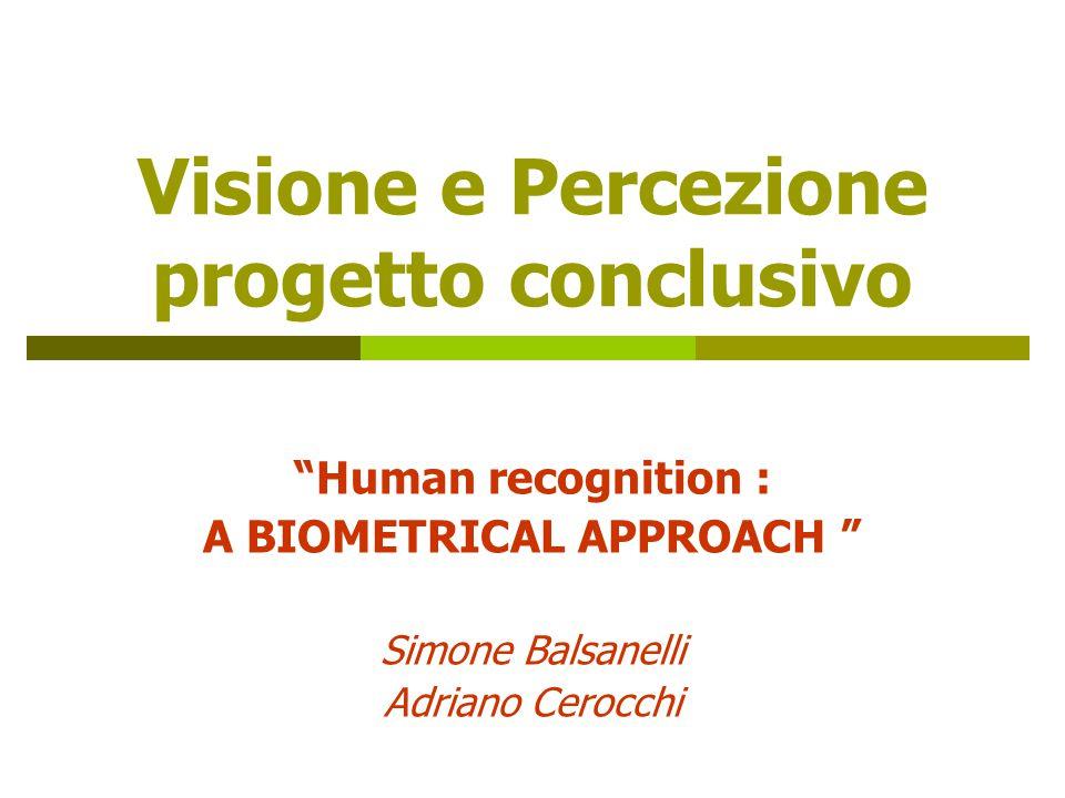 Visione e Percezione progetto conclusivo Human recognition : A BIOMETRICAL APPROACH Simone Balsanelli Adriano Cerocchi