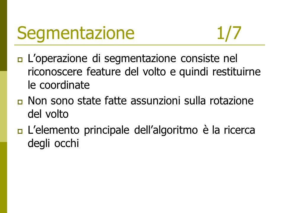 Segmentazione1/7  L'operazione di segmentazione consiste nel riconoscere feature del volto e quindi restituirne le coordinate  Non sono state fatte assunzioni sulla rotazione del volto  L'elemento principale dell'algoritmo è la ricerca degli occhi