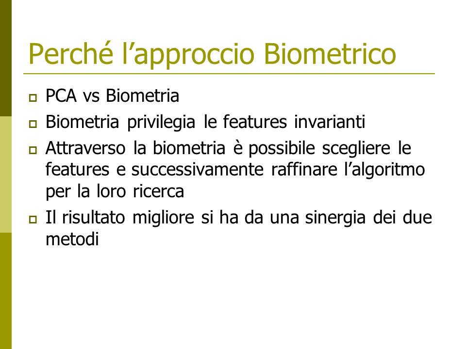 Perché l'approccio Biometrico  PCA vs Biometria  Biometria privilegia le features invarianti  Attraverso la biometria è possibile scegliere le features e successivamente raffinare l'algoritmo per la loro ricerca  Il risultato migliore si ha da una sinergia dei due metodi