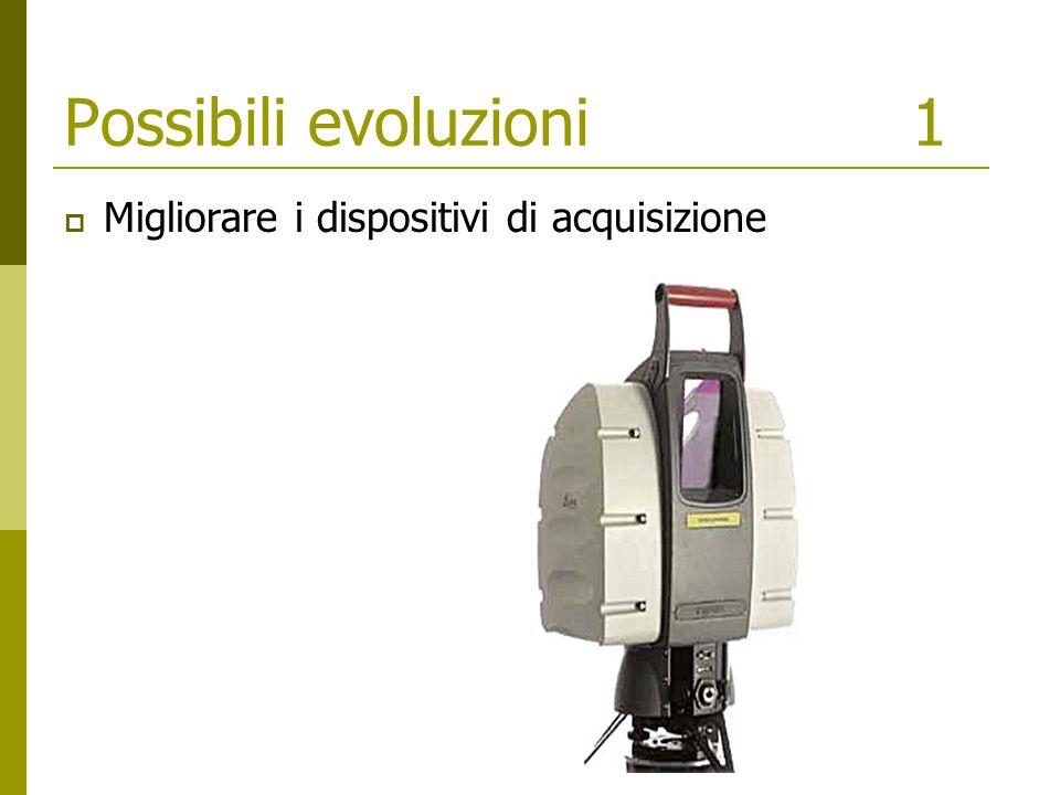 Possibili evoluzioni1  Migliorare i dispositivi di acquisizione