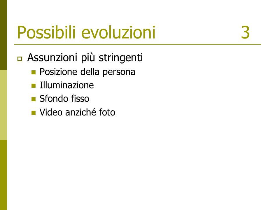 Possibili evoluzioni3  Assunzioni più stringenti Posizione della persona Illuminazione Sfondo fisso Video anziché foto