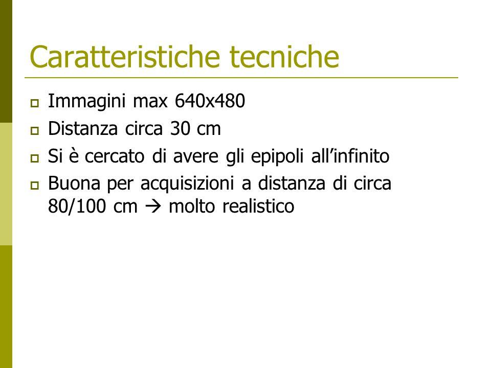 Caratteristiche tecniche  Immagini max 640x480  Distanza circa 30 cm  Si è cercato di avere gli epipoli all'infinito  Buona per acquisizioni a distanza di circa 80/100 cm  molto realistico