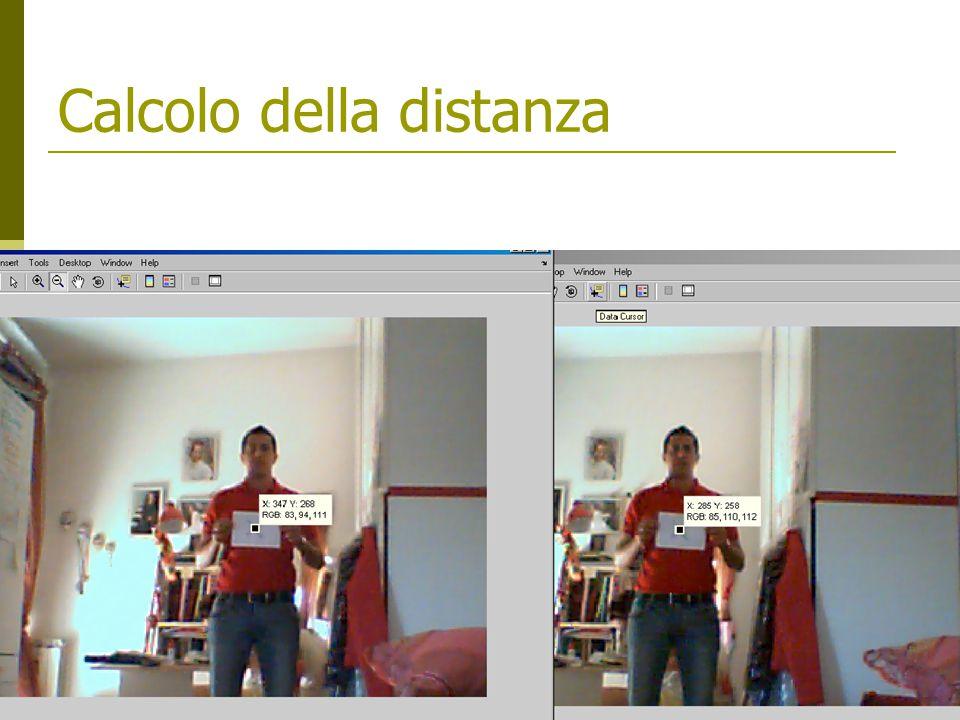 Riconoscimento 1/2  Distanza interpupillare  Distanza punto medio occhi – bocca  Rapporto tra distanza interpupillare/distanza bocca (rapporto T)  Profondità del naso stimata come differenza delle z dei punti (stima più realistica della distanza reale)